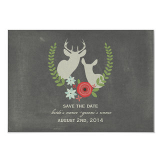 Floral Deer Chalk Inspired Save The Date Custom Announcement