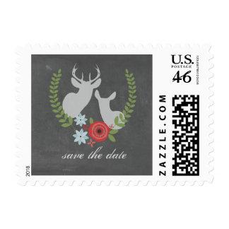 Floral Deer Chalkboard Inspired Save The Date Postage Stamps
