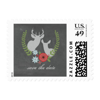 Floral Deer Chalkboard Inspired Save The Date Postage Stamps