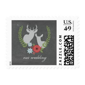 Floral Deer Chalkboard Inspired Wedding Stamp