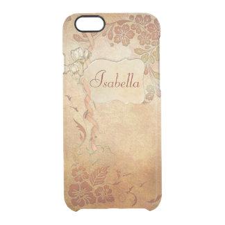 Floral del oro del vintage personalizado funda clearly™ deflector para iPhone 6 de uncommon
