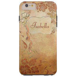 Floral del oro del vintage personalizado funda de iPhone 6 plus tough