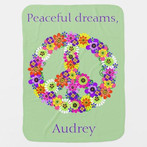 Floral del signo de la paz personalizado mantitas para bebé