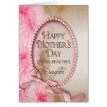 Floral delicado y rosado del día de madre - hija - felicitación
