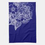 Floral Design 1 - Navy Towels