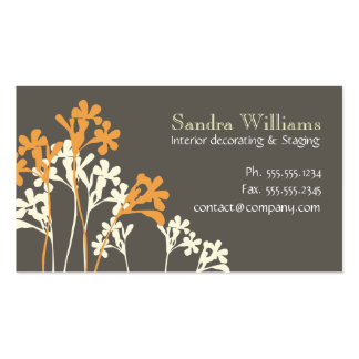 Floral Design Custom Business Card Dark Brown Gray