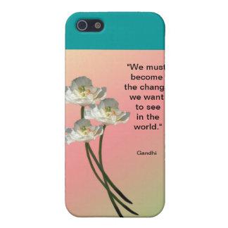 Floral Design Famous Gandhi Quote Ipod Case