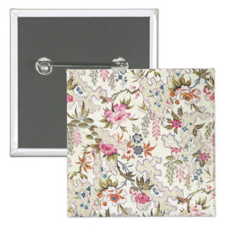 Floral design for silk material with stylized flow 2 inch square button