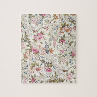 Floral design for silk material with stylized flow jigsaw puzzle