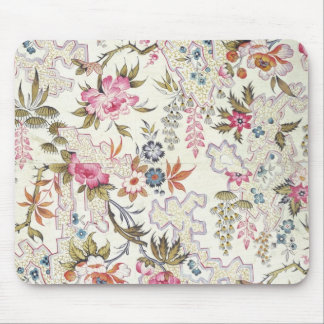 Floral design for silk material with stylized flow mouse pad