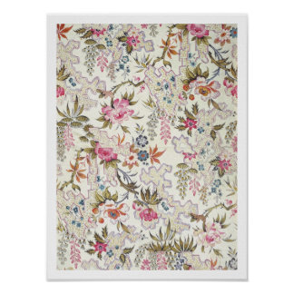 Floral design for silk material with stylized flow poster
