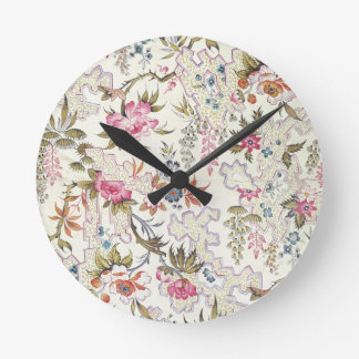 Floral design for silk material with stylized flow round clock