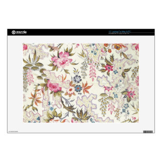 """Floral design for silk material with stylized flow skin for 15"""" laptop"""