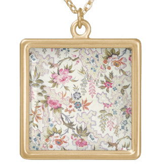 Floral design for silk material with stylized flow square pendant necklace