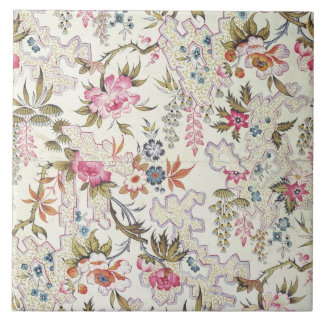 Floral design for silk material with stylized flow tile