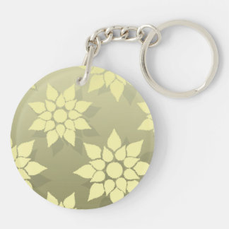 Floral Design in Shades of Yellow Keychain