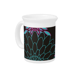 Floral Design Modern Abstract Flowers Drink Pitchers