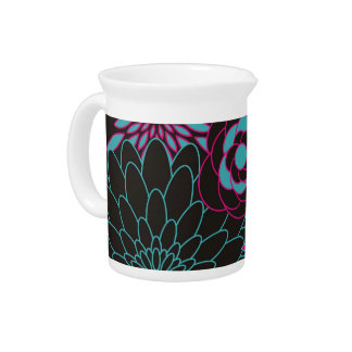 Floral Design Modern Abstract Flowers Beverage Pitcher