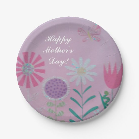 Floral Design Mother's Day Paper Plates 7""