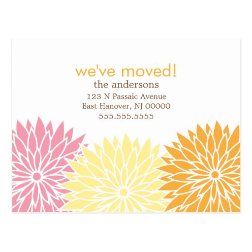 Floral Design Moving Announcements Post Cards
