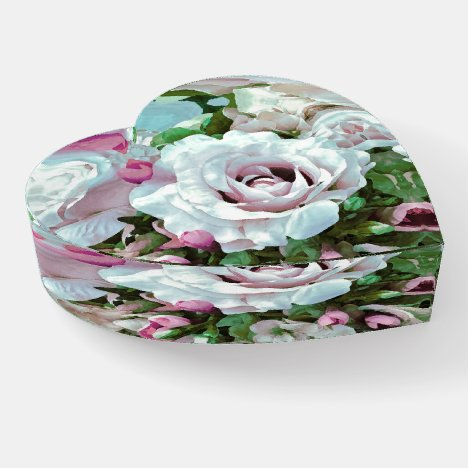 Floral Design No. 1 Glass Paperweight (Heart)