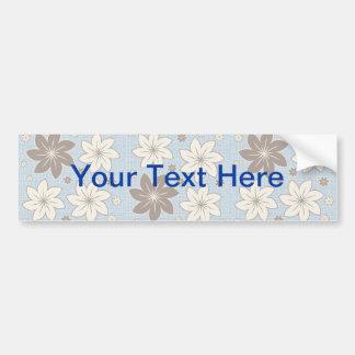 Floral design on blue car bumper sticker