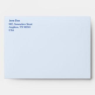 Floral design on blue envelopes