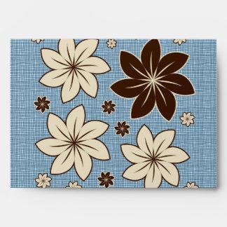 Floral design on blue envelope
