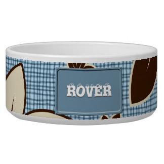 Floral design on blue pet food bowls