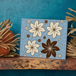 Floral design on blue plaque