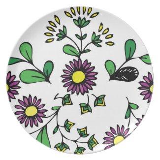Floral design purple flowers plate