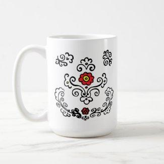 Floral design red flowers mug