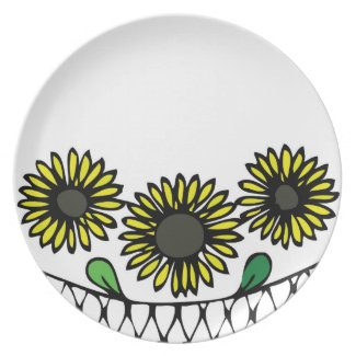 Floral design sunflower plate