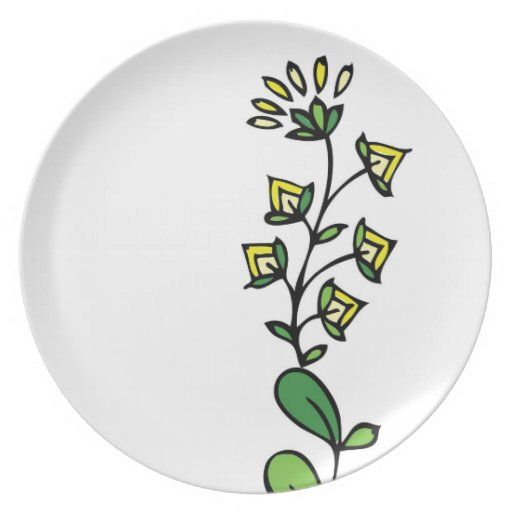 Floral design yellow flower plate
