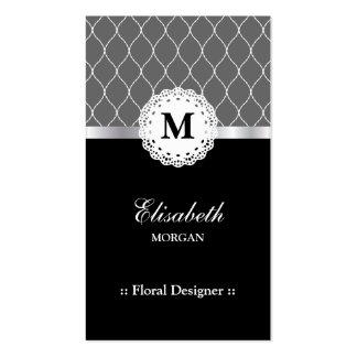 Floral Designer - Elegant Black Lace Pattern Double-Sided Standard Business Cards (Pack Of 100)