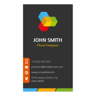 Floral Designer - Modern Multicolor Double-Sided Standard Business Cards (Pack Of 100)