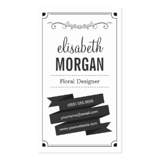 Floral Designer - Retro Black and White Double-Sided Standard Business Cards (Pack Of 100)