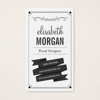 Floral Designer - Retro Black and White Business Card