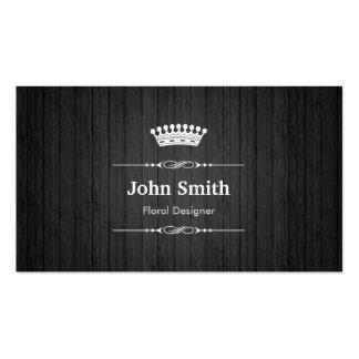 Floral Designer Royal Black Wood Grain Double-Sided Standard Business Cards (Pack Of 100)