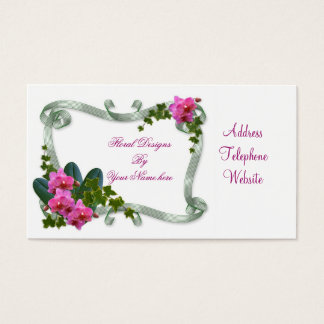 Floral designs business card Orchids and ivy