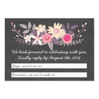 Floral Detail Chalkboard RSVP Card