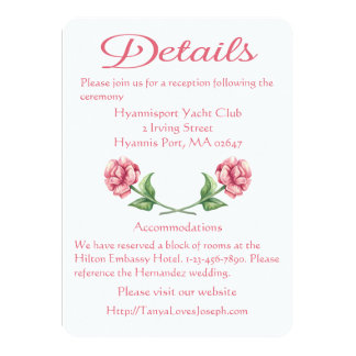 Floral Detail / Directions Watercolor Pink Rose Card