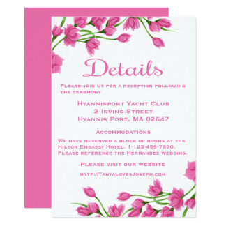 Floral Details Directions Pink And White Flowers Card