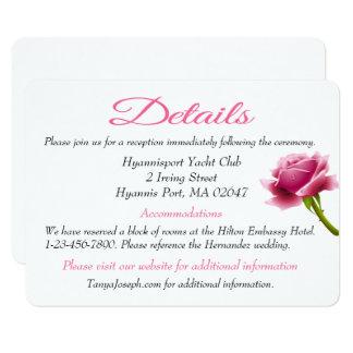 Floral Details / Directions Pink Rose Flower Card