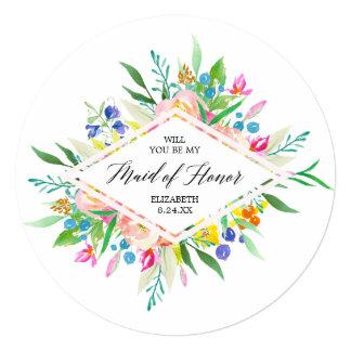 Floral Diamond Bridesmaid Maid of Honor Card