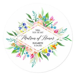 Floral Diamond Bridesmaid Matron of Honor Card