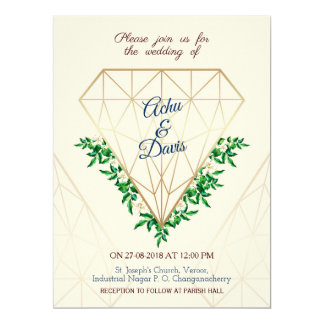 FLORAL-DIAMOND WEDDING INVITE