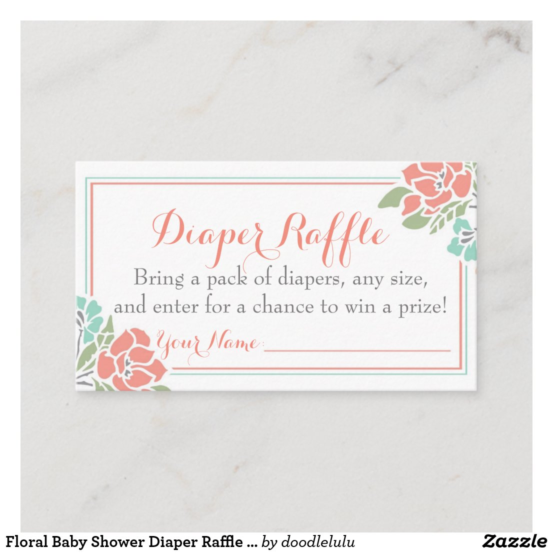 Floral Diaper Raffle Ticket in Coral and Teal Enclosure Card