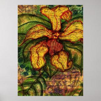 Floral dibujada mano con las adiciones de textura posters
