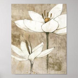 Floral dibujado por el lápiz póster